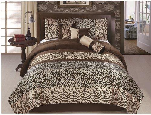 7 Piece Safari - Zebra - Giraffe Print Brown Micro Fur Comforter Set, Bed In Bag, Queen Size front-359725