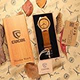 CUCOL Bamboo Wooden Watch with Brown Cowhide Leather Strap Japanese Quartz Movement Casual Watches