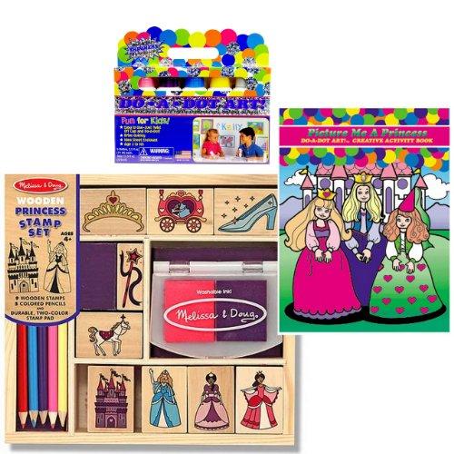 Melissa & Doug Princess Stamp Set with Do A Dot Princess Book and Shimmer Markers Set of 3 Items