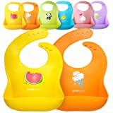 Single or Set of 2 Waterproof Silicone Baby Bib Lightweight Comfortable Easy-Wipe Clean Available in Large (10- to 72-months) and Small 4- to 36-months