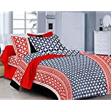 Classic FP Blue Red Printed Cotton Double Bedsheet (MGC 23)