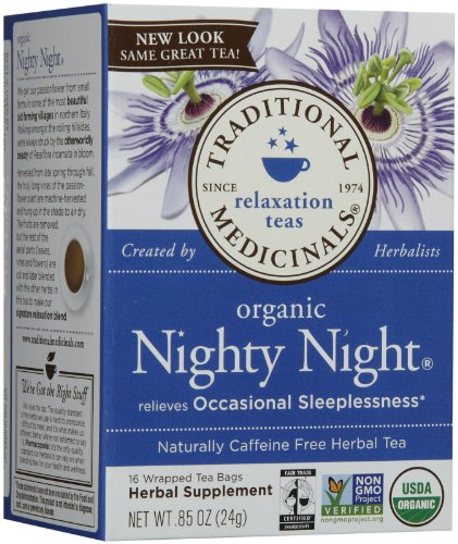 Traditional Medicinals Organic Fair Trade Certified Nighty Night Herbal Wrapped Tea Bags, 16 Ct
