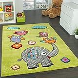 Kinderzimmer Teppich Niedliche Bunte Tierwelt Eule Elefant in Grün Blau