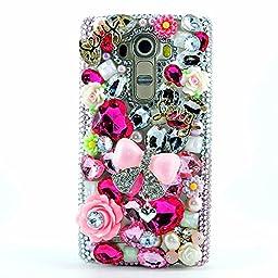 LG K8 Case, Sense-TE Luxurious Crystal 3D Handmade Sparkle Diamond Rhinestone Clear Cover with Retro Bowknot Anti Dust Plug - Princess Pink Bowknot Flowers / Pink