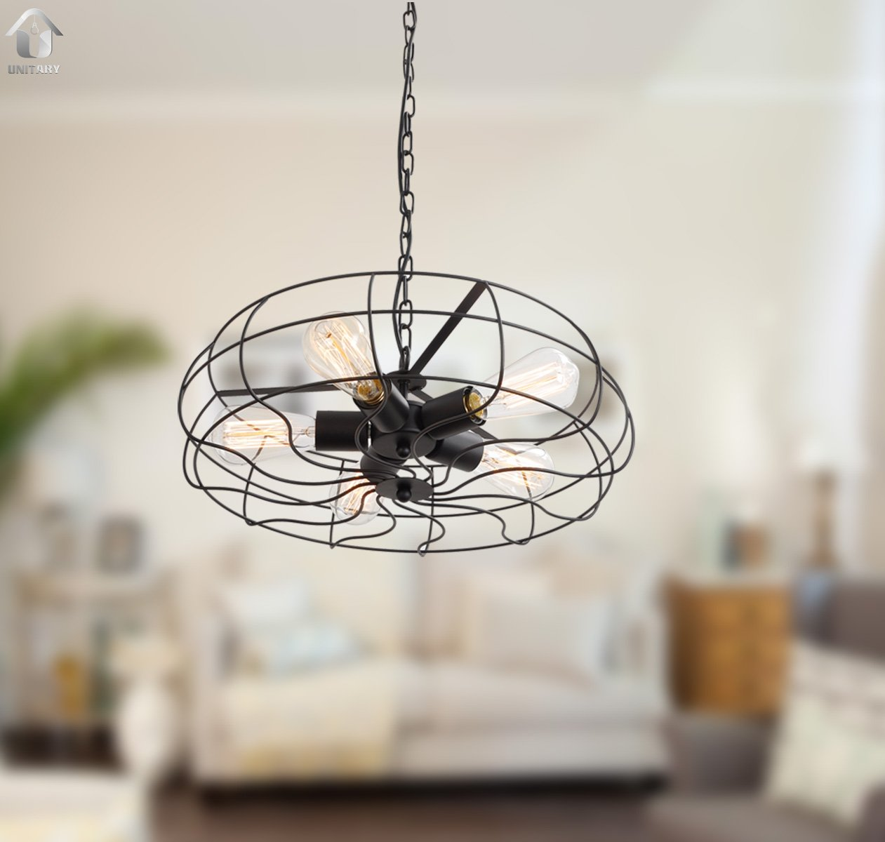 UNITARY BRAND Vintage Barn Metal Hanging Ceiling Chandelier Max. 200W With 5 Lights Painted Finish 1