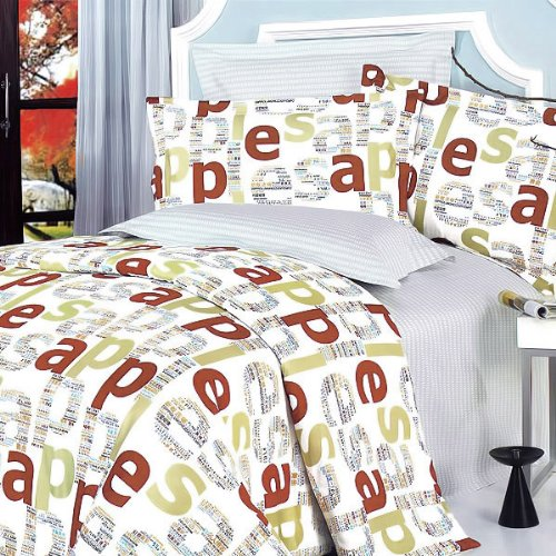 Blancho Bedding - [Apple Letter] 100% Cotton 4PC Comforter Cover/Duvet Cover Combo (King Size)