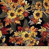 Kanvas Sunflower Fields Metallic Sunflower Bouquet Black Fabric