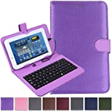 """HDE Diamond Stitch Hard Leather Folding Folio Case Cover with Micro USB Keyboard for 7"""" Tablet (Purple)"""