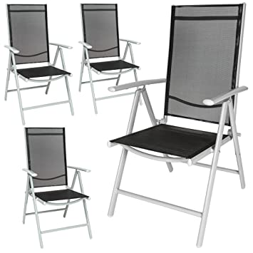 TecTake Aluminium Klappstuhl Gartenstuhl Set verstellbar mit Armlehnen - diverse Farben und Mengen - (Silber   4er Set   Nr. 401632)