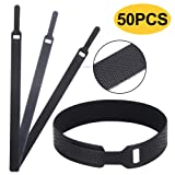 Multi-Purpose Cable Ties Reusable Cord Organizer Rope Holder, Management Cord Wraps, 7.9'',(50 Piece) Black