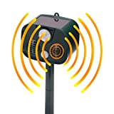 INN Solar Outdoor Pest and Animal Scarer Repeller - Ultrasonic Cat Repellent - Sonic Alarm Farm Garden Yard Pest Control Drive Away Dog, Deer, Goose, Bird and Rabbit - Motion Triggered Detection (Tamaño: 002)