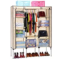 Aojia Canvas Wardrobe Clothes Hanging Rail Cupboard Clothes Storage Organiser Dimensions: 125cm…