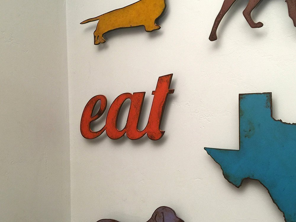 11 inch long eat metal wall art word - Handmade - Choose your patina color	 5