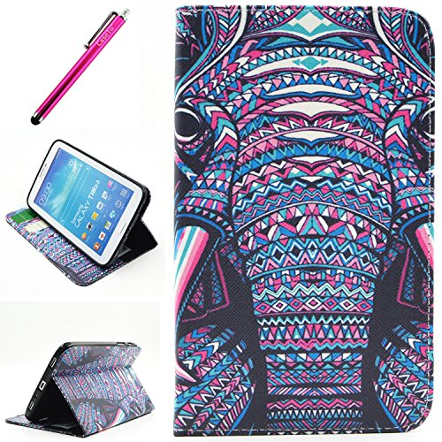 "Galaxy Tab 4 8.0 Case, Wallet Case For Tab 4 8.0, Yummi Premium Wallet Leather Case Cover With Credit Card Slot and Built In Stand Feature For Samsung Galaxy Tab 4 8"" 8 Inch SM-T330 / T331 / T335+ One Free Stylus [Elephant]"