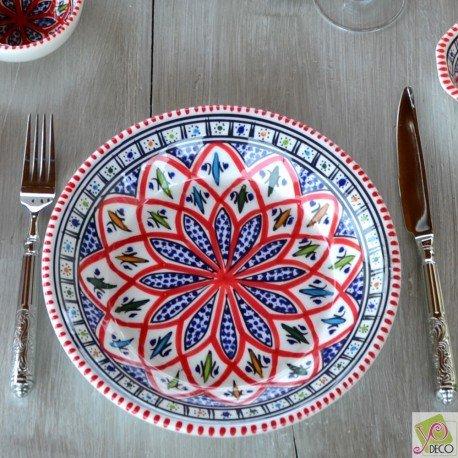 Assiette creuse Jileni rouge - D 24 cm