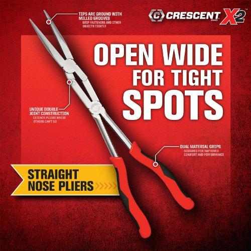 Crescent PSX203C X2 Long Reach Pliers Set, Long and Bent Long Nose