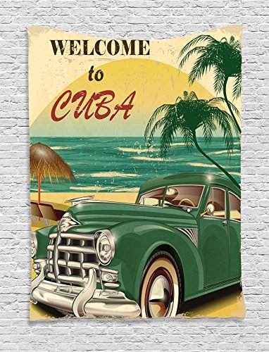 1950s Decor Tapestry Wall Hanging by Ambesonne, Nostalgic Welcome to Cuba Artsy Print with Classic Car Beach Ocean and Palm Trees, Bedroom Living Room Dorm Decor, 60WX80L Inches, Green Cream Yellow (Classic Car Birthday compare prices)