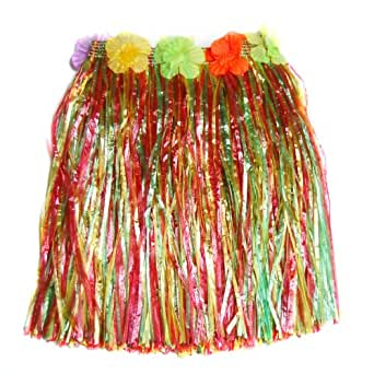 Beyondfashion Hawaii Hawaiian Grass Straw Fancy Dress Dancing Hula Girl Skirt- Mix Color