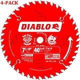 D0740A Diablo 7-1/4 40 Tooth ATB Finishing Saw Blade with 5/8-Inch Arbor, Diamond Knockout, and PermaShield Coating (4-Pack)