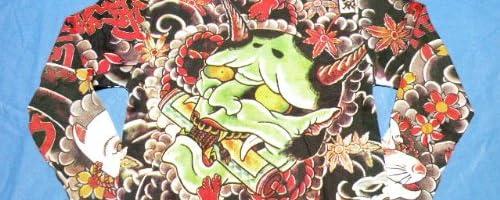 和柄刺青ロングTシャツ 【大般若】 緑般若/青般若/ロンT/プリント/メンズ