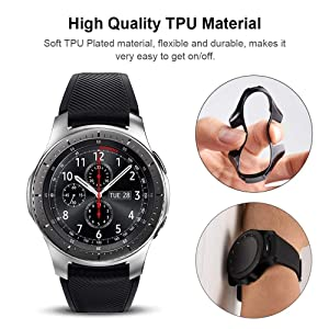 Miimall [2 Pack] Compatible Samsung Galaxy Watch 46mm/ Gear S3 Case Cover, Soft TPU Plated Protective Protector Bumper Cover Case for Samsung Gear S3 Frontier/Classic Black and Silver (Color: Samsung Gear S3 / Glaxy Watch 46mm Case Black and Silver, Tamaño: One Size)