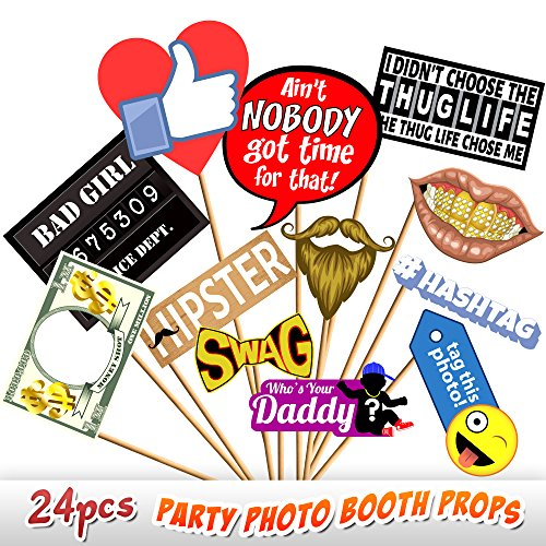 24pc Party Photo Booth Props, Novelty Dr