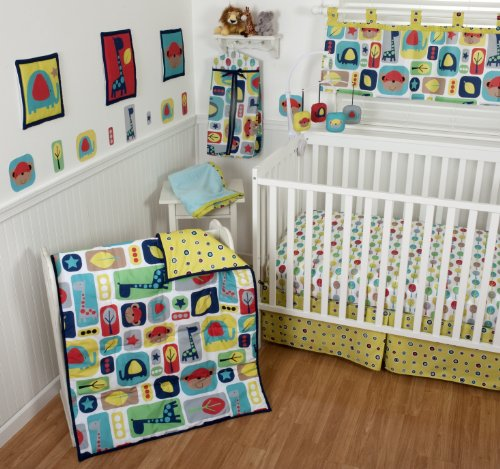 Sumersault 10 Piece Crib Bedding Set, Zoo Squares - 1