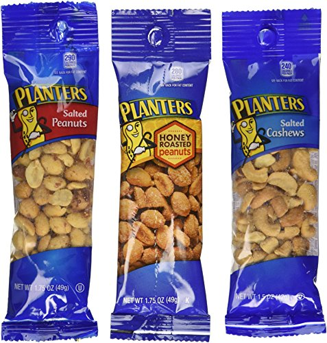 Planters Variety Pack, 24 Packs (12-1.75 oz salted peanuts, 6-1.75 on planters honey roasted peanuts, planters peanuts variety, planters peanuts individually wrapped, blue diamond nuts pack, planters nutrition pack, planters heat peanuts, peanut planter pack,