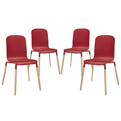 Stack Wood Dining Chairs Set of 4 - Red