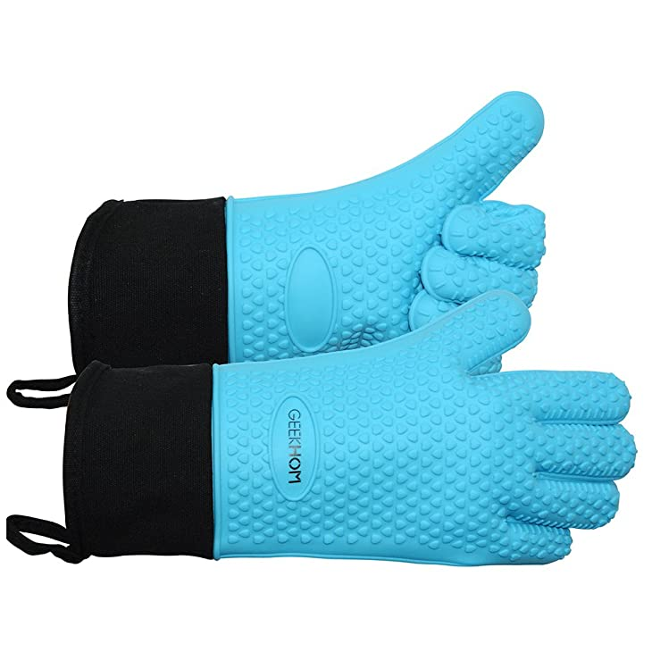 GEEKHOM Grilling Gloves, Heat Resistant Gloves BBQ Kitchen Silicone Oven Mitts, Long Waterproof Non-slip Potholder for Barbecue, Cooking, Baking (Blue)