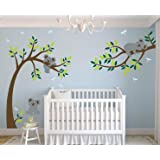 LHKSER Nursery Koala Tree Wall Stickers/ARGE Tree Cartoon Animals Koala Wall Decals/Children's Room Nursery Removable Vinyl Decals Mural Art Decoration (Brown Green) (Color: Brown Green)