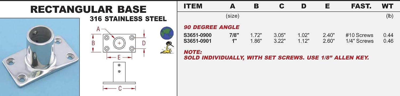 316 Stainless Rectangular Base 1 90 Degree Angle (S3651-0901)