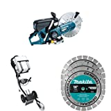EK7651H 14-Inch MM4 4 Stroke Power Cutter with DT4000 Dolly with Water Tank with A-94932 14-Inch Contractor Diamond Blades, 3-Pack