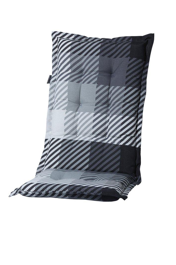 8 cm Luxus Hochlehner Auflage C 326 grau schwarz kariert gestreift