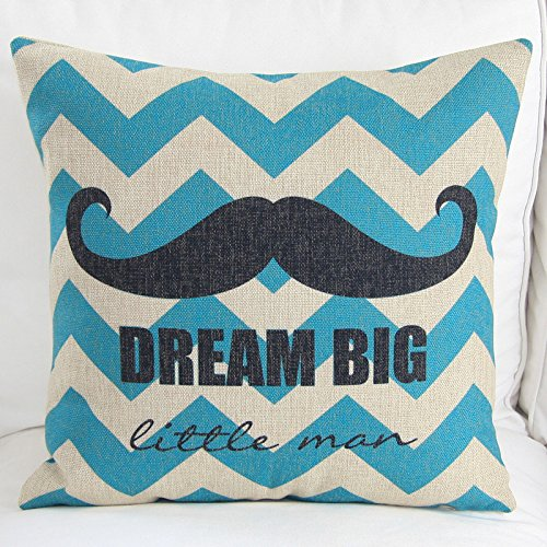 "Euphoria Home Decorative Cushion Covers Pillows Shell Cotton Linen Blend Blue Zigzag Ground Black Mustache Mouthache 18"" X 18"" front-1014747"