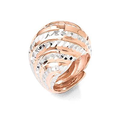 Leslies Sterling Silver Rose Gold-plated Diamond-cut Adjustable Ring