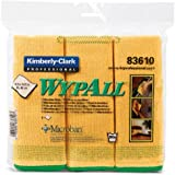 "Kimberly-Clark Wypall 83610 Microfiber Cloths with Microban Protection, 15-3/4"" Length x 15-3/4"" Width, Yellow (4 Packs of 6)"