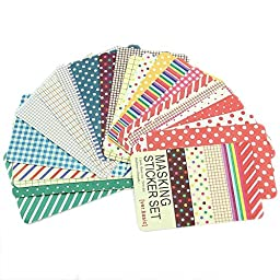 ADB Inc 27pcs Washi Scrapbook Basic Masking Tape Craft Stickers Pack Decorative Labelling Art Adhesives