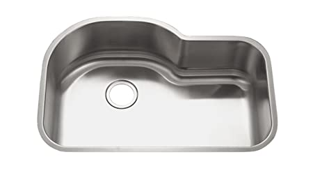 Wells Sinkware 3221-9-18 18 Gauge Offset Single Bowl Undermount Stainless Steel Kitchen Sink - Compares with Houzer MH-3200 Medallion - Made in Same Factory - Exact Same Dimension 32-1/2-by-21-inch