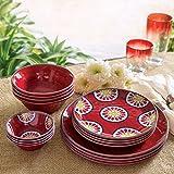Melamine Dinnerware 16-Piece Set (Red)