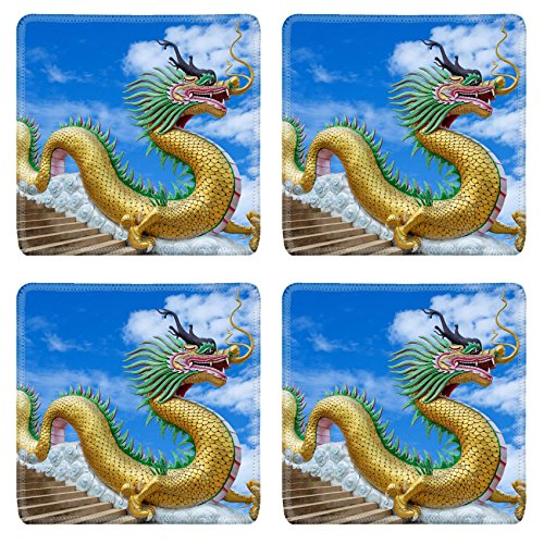 MSD Square Coasters 4 Pack Per Order IMAGE ID 20212753 Giant chinese style dragon statue on blue sky background