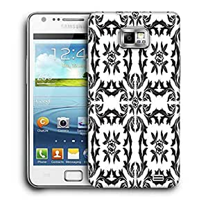 Snoogg Black Pattern Leaves Printed Protective Phone Back Case Cover For Samsung Galaxy S2 / S II