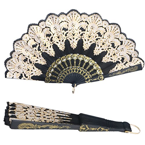 Mimgo Store Lace Flowers Design Black Spanish Style Dance Wedding Party Lace Silk Folding Hand Held Flower Fan