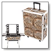 Leopard Prfoessional Studio Makeup Case with LED light