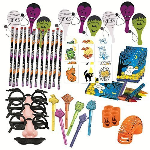 For Sale! Halloween Terrific Toy Assortment Includes Paddle Balls, Eyebrows & Mustache Glasses ,Penc...