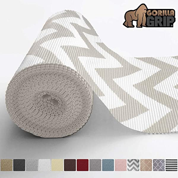 Gorilla Grip Original Drawer and Shelf Liner, Non Adhesive Roll, 12 Inch x 20 FT, Durable and Strong, for Drawers, Shelves, Cabinets, Storage, Kitchen and Desks, Chevron Gray White (Color: Chevron: Gray/White, Tamaño: 12 x 20')