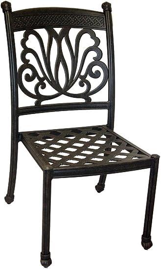 Ariana Armless Cast Aluminum Outdoor Patio Dining Chair with Seat Cushion - Desert Bronze