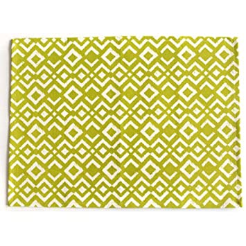 Chewing the Cud IKA-200C-P Ikat Placemats, Chartreuse, Set of 4