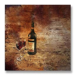 Neron Art - Hand painted Still Life Oil Painting on Gallery Wrapped Canvas - Red Wine 20X20 inch (51X51 cm)