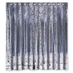 Custom Birch Forest Waterproof Polyester Fabric Shower Curtain Standard Size 60x72